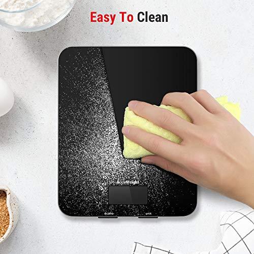 ACCUWEIGHT Bilancia Digitale da Cucina Elettronica Bilance Alimenti Multifunzionale con Display LCD per Pesa Cibo 5 kg  11 lbs Superficie in Vetro Temperato Nero
