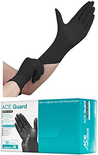 ACE Guard Guanti Monouso  50 Paia Guanti Nitrile Usa e Getta  Senza Lattice e Polvere  Neri  s