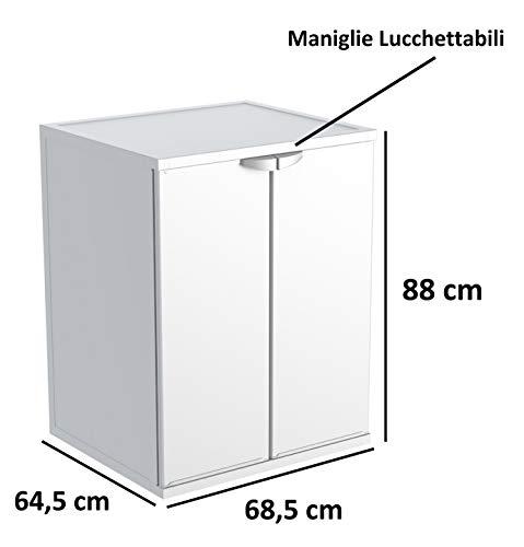 Adventa Mobile Coprilavatrice in Resina PVC Uso InternoEsterno Bianco L 685 x P 645 x h 88 cm