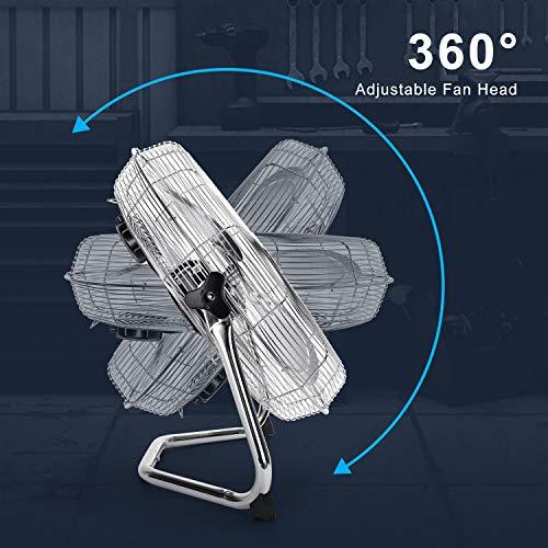 Aigostar Clover 33QNV  Ventilatore da Pavimento da 110 WCromato Testa Regolabile a 360 Gradi 3 Velocit 45 cm 18D Uso industriale Domestico palestre o ufficio