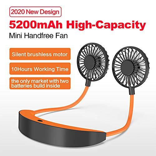 AISIR Mini Ventilatore Portatile USB Ventilatore da Collo Indossabile 5200mAh Ricaricabile Ventole Tavolo Silenzios con 360 Girevole 3 velocit 610 Orario Lavoro per Sport Viaggi UfficioArancia