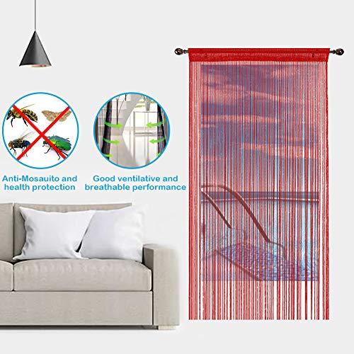 Aizesi Tenda a stringhe per porta con funzione di zanzariera stile retr divisorio per ingresso o tenda da finestra 90 x 200 cm Tessuto Vino rosso 90 x 200 cm