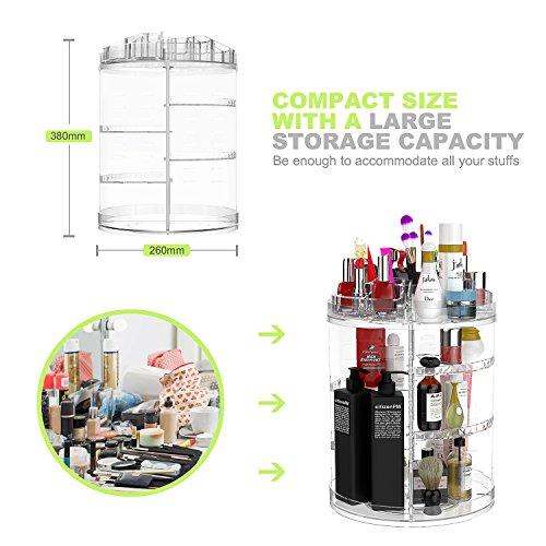 AMEITECH Organizzatore di Trucco Monili Regolabili a 360 Gradi e Vetrina Cosmetica 8 Strati Compongono la Scatola di Immagazzinaggio  Crystal Clear
