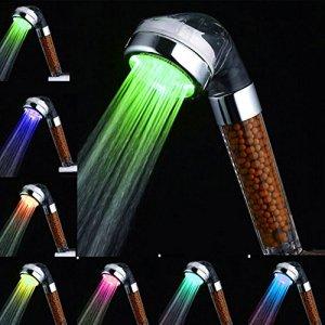 Amison  Soffione doccia a LED cambia colore a risparmio idrico 7 colori automatico ad alta pressione con filtro Anion