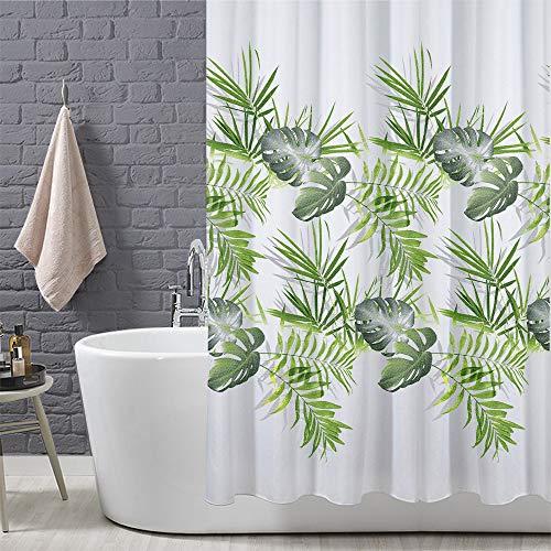 ANSIO  Tenda da doccia Motivo a foglia verde palma 180 x 180 cm