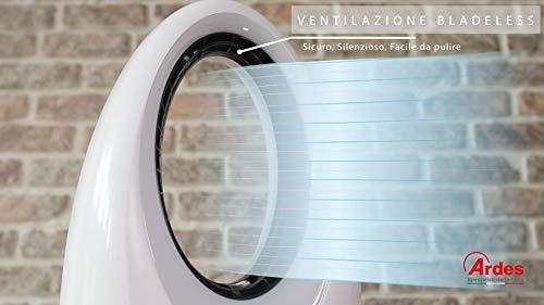 Ardes AR5BL1 Muna Bladeless Ventilatore Senza Pale con Telecomando Luce Notturna LED Timer Touch Bianco