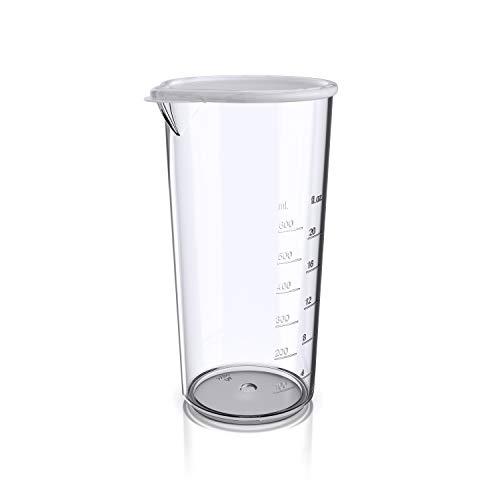 Arendo  Bicchiere per mixer ad immersione da 600 ml  Plastica rinforzata  Ideale per frullatore a mano  Misuratore con coperchio  Bicchiere per frullati