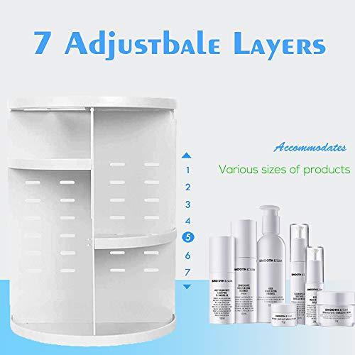 Artbisons Organizzatore di Trucco Stoccaggio Cosmetico Regolabile con Rotazione a 360 Gradi e Scatola di Esposizione per Cosmetici Scatola Organizer Cosmetici con 7 Strati Bianca