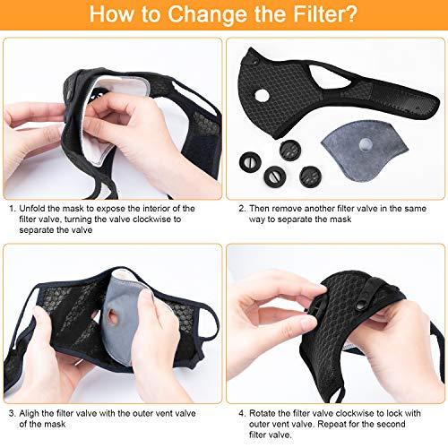 AstroAI Maschera antipolvere con filtri  Protezione personale riutilizzabile regolabile per corsa ciclismo attivit allaperto