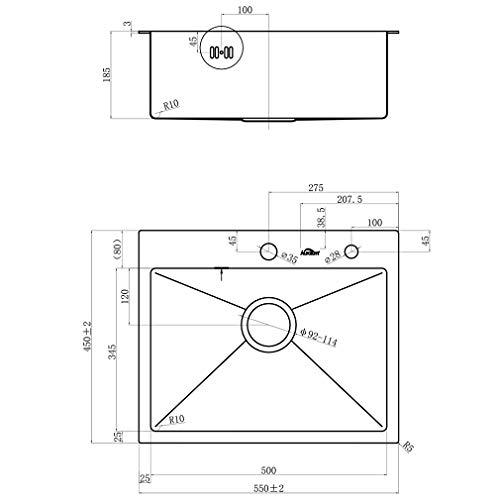 Auralum  Lavelli da Cucina in Acciaio Inox 304 Lavandino Cucina Spazzolato Vasca Singola 55 x 45 x 18 cm