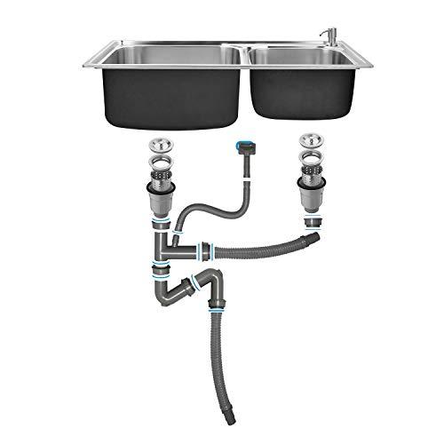 Auralum Set Lavello In Acciaio Inox 304con 2 Fori di Montaggio e Tappo Filtro Lavello Scarico Sifone 78x43x22CM