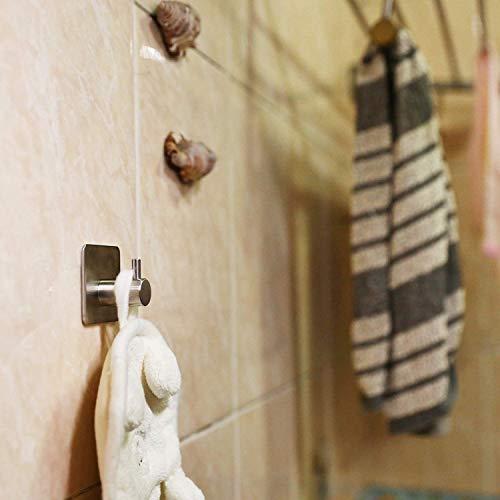 Auxmir Ganci Adesivi 3M Ganci Appendiabiti in Acciaio Inox SUS304 Set di Ganci Cucina Forte Impermeabile Rimovibile senza Tracce per Bagno Cucina Porta 5PZ