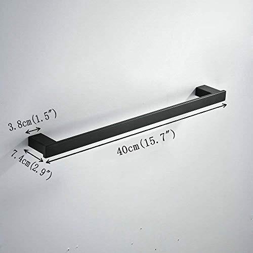 Beelee 40 cm Porta asciugamani da parete Acciaio Inossidabile Asciugamano da bagno bar Nero BA8003B40