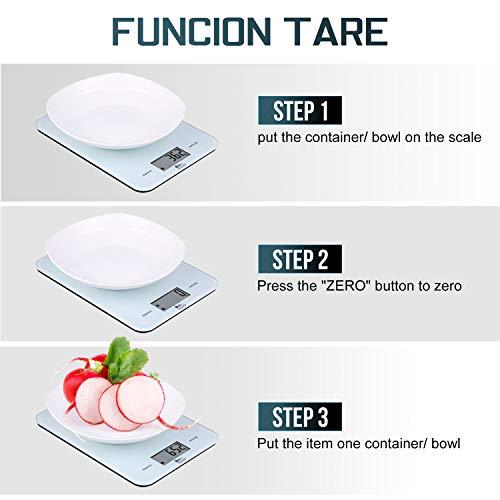 Bilancia da Cucina 10Kg1g Bilancia Elettronica Digitale Alta Precisione Misurazione Display LED Multifunzione da Cucina e Acciaio Inossidabile Usato Come Sveglia bianca