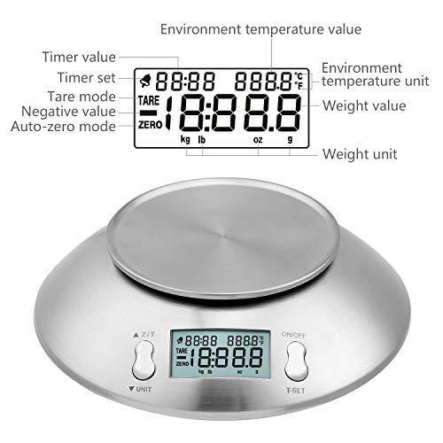 Bilancia Da Cucina 5Kg Bilancia Elettronica Digitale in Acciaio Inossidabile Ciotola Timer Allarme Indicatore Temperatura Alta Precisione Misurazione Display Retroilluminato