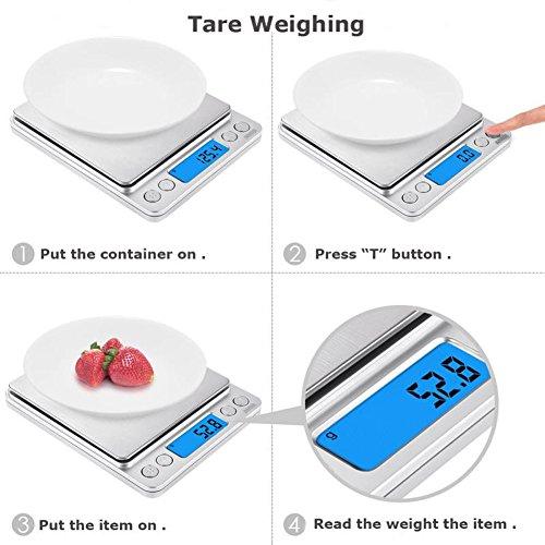Bilancia da Cucina Digitale  3kg x 01g Bilancia Pesapersone Professionale Bilancia Elettronica Pesa Alimenti Indicatore Batteria Scarica con LCD Display Retroilluminato