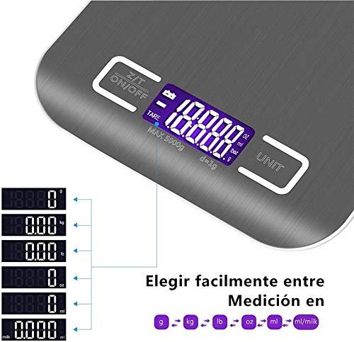 Bilancia da Cucina Smart Digitale con Funzione Tare5kg11 lbs Professionale Acciaio Inox Alta Precision Bilancia Elettronica per la Casa e la CucinaArgento2 Batteries IncluseYS1