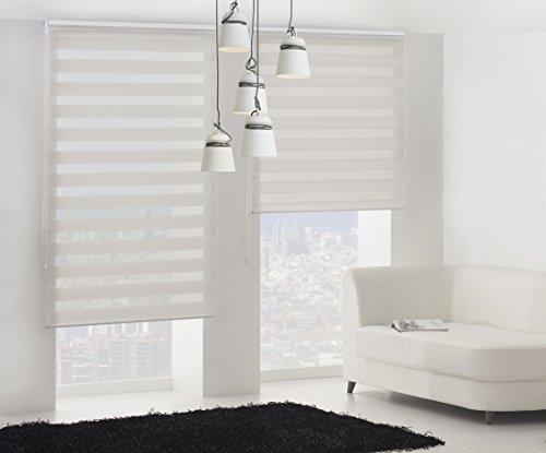 Blindecor Lira Tenda a Rullo in Doppio Strato Notte e Giorno Tessuto Beige Lino Crema 100 X 180 cm