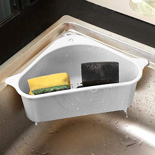 Bluelves Mensola Triangolare Portaoggetti Scolapiatti Multifunzione Scaffale Scolapasta Plastica con Ventosa Lavello da Cucina Angolo Appeso Cestino Lavello Cestino per Cucina Bagno Grigio