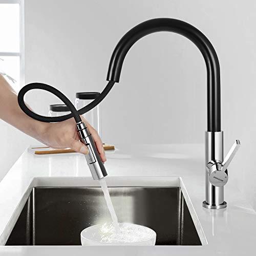 BONADE Rubinetto da cucina allungabile rubinetto da cucina ad alta pressione Rubinetto per lavello nero girevole a 360  Miscelatore monocomando con doccetta Miscelatore monocomando
