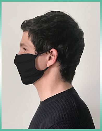 CALZITALY  PACK 5 PEZZI Fascia Protettiva Lavabile e Riutilizzabile Tessuto Antibatterico Protezione Naso e Bocca Bianco Nero Made in Italy FASCIA NERO