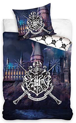 Carbotex  HP188010PP  Harry Potter Set Letto Castello di Hogwarts 2 Pezzi Copripiumino 140x200cm e Federa 70x90cm Originale Cotone