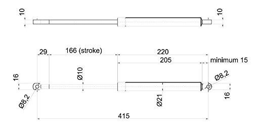 Coppia di molle a gas pistone interasse 415 mm potenza 1000 N