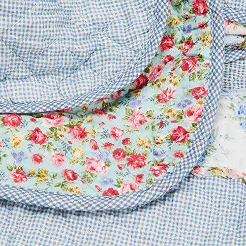 Copriletto Cotone Copriletto Trapuntato Matrimoniale Lavabile in Lavatrice Elegante Coperta Primaverile Estivo con Fiore Stampa Antipolveri Copri Letto per Camera da Letto Blu 200230cm
