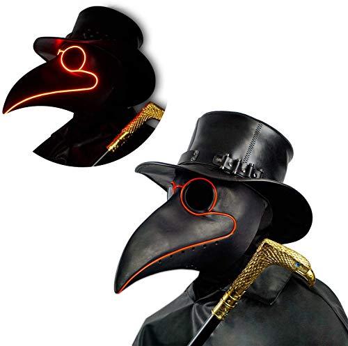 CreepyParty LED Maschera Medico Peste Maschera di Oggetti di Scena di Halloween Steampunk Becco Lungo Becco di Uccello Luce Nero