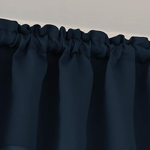 Deconovo 2 Pezzi Tendine Oscuranti Camera da Letto Tende Piccole con Passanti per Finestre Soggiorno 100 Poliestere 107x46 CM Blu Navy