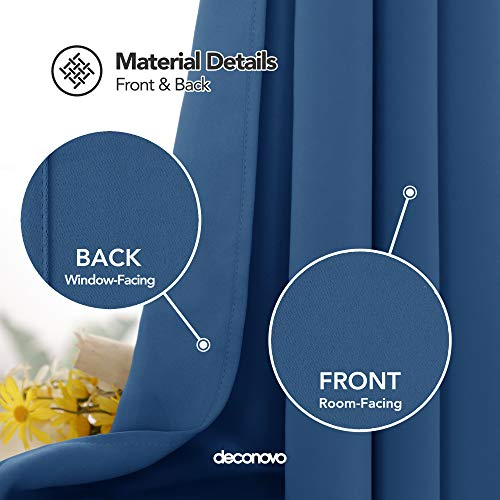 Deconovo Tende Oscuranti Termiche Isolanti Tende da Sole con Occhielli per Casa Moderna 140X290 CM Blu Acciaio 2 Pannelli