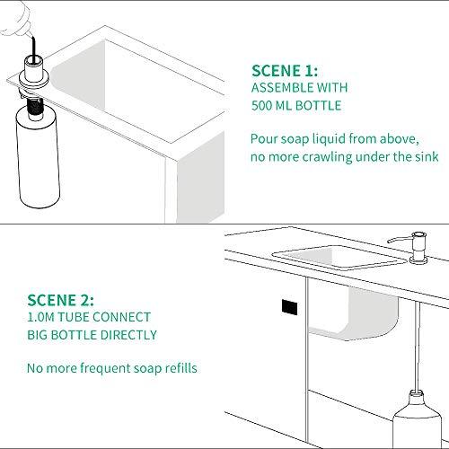Dispenser di sapone per lavello da cucina e kit tubo prolunga tubo in silicone da 10 m Collegare direttamente alla bottiglia di sapone dire addio a frequenti ricariche