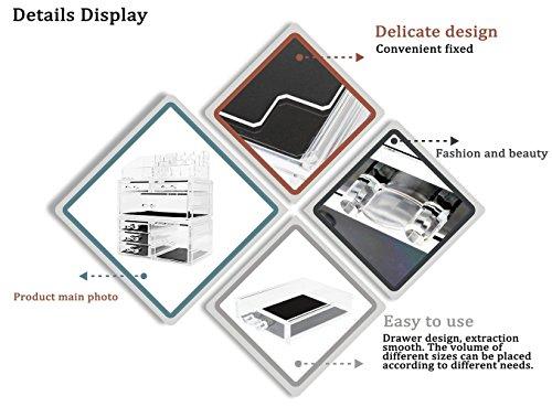 Display4top Scatola Cosmetici Trucchi e Makeup Cosmetic Organizer Acrilico Organizzatore 7 cassettiere Traparente