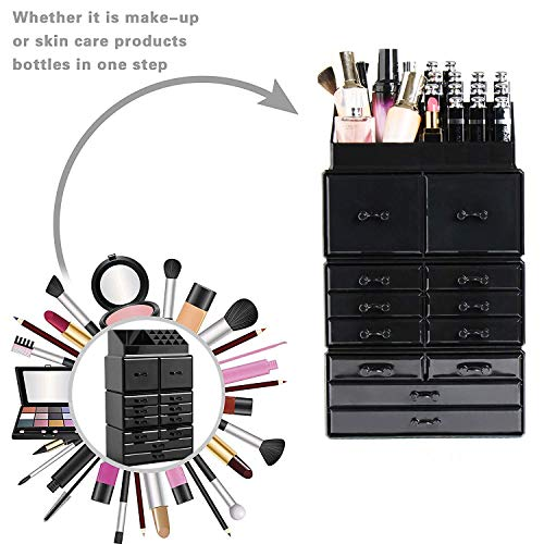 Display4top Scatola Cosmetici Trucchi e Makeup Cosmetic Organizer Acrilico Organizzatore 12 cassettiere Nero