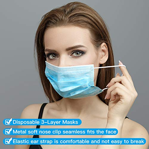 DUCOOL 50 pezzi maschera monouso 3 strati con elastici elastici blu