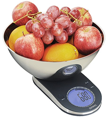 Duronic KS5000 Bilancia da cucina digitale  Ciotola INOX 245 cm inclusa  Display retroilluminato e funzione tara  Display retroilluminato e funzione tara portata 5 kg  Bilancia elettronica ideale per preparare piatti deliziosi