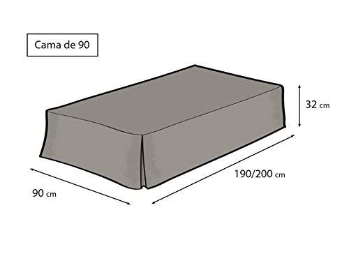 EasyCosy  Mantovana Giroletto Modello ATENEA Vestiletto Coprirette per Letto 90 cm  Volant di 32cm Colore Grezzo 90x190200cm