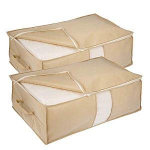 Elezay contenitori portaoggetti sotto il letto con cerniera e manico 2 pezzi organizer Beige profondo 31x17x98 IN