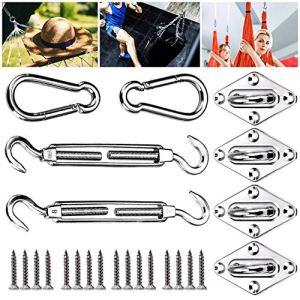 Emooqi Kit di Fissaggio per Tende 24 Pezzi Accessori di Montaggio in Acciaio Inossidabile da Sole Rettangolare e Quadrata Tende per Kit Hardware a Scomparsa per Vela Parasole