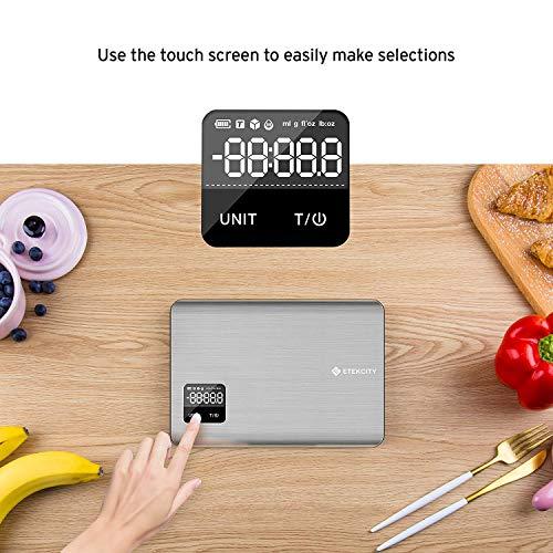 Etekcity Bilancia da Cucina Digitale in Acciaio Inossidabile 5kg11lb Bilancia Elettronica Alimenti con Schermo Tattile LCD Display Retroilluminato Alta Precisione 1g 2 Batterie Incluse Argento