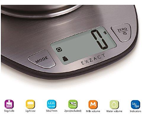 EXZACT Bilance da CucinaBilancia Elettronica ad Alta Precisione con Ampio Display in Acciaio Inossidabile con Ciotola per Mescolare  5kg  11lb