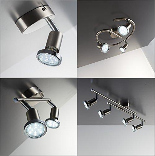 Faretti LED da soffitto orientabili 2 luci include lampadine GU10 da 3W luce calda 3000K plafoniera moderna da soffitto per salotto cucina o entrata metallo color nickel e cromato 230V IP20