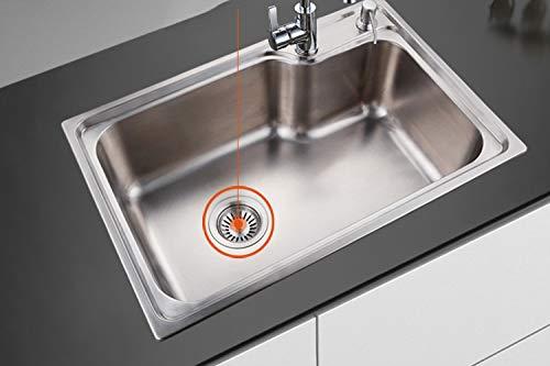 Filtro per Lavello da Cucina 2 Pezzi Acciaio Inox Filtro Lavello Scarico Cucina Tappo Cestello per Lavabo Foro Colino 35 inch 80 mm con 1 Pezzi Filtro di Silicone