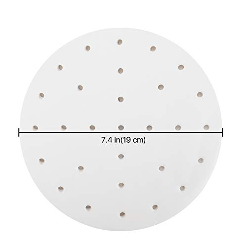 Flexzion Fogli di carta per friggitrice ad aria 19 CM 100 Fogli  Carta perforata pergamena Carta da forno Cottura antiaderente per forno microonde Cestello per cottura a vapore in bamb Cucina