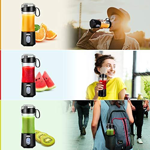 Frullatore Portatile TopEsct 380ml Mini Frullatore con 6 Lame in Acciaio Inox Multifunzionale Frullatore per Frullati con USB Ricaricabile per Frullati Frappe Frutta e Verdura BPA Free