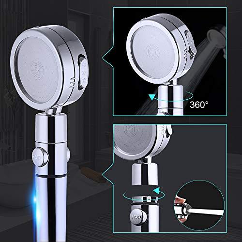 GAVAER Soffione Doccia Tubo PVC Flessibile da 2m Doccia Soffione ad 3 modalit di spruzzatura e funzioni della pistola a spruzzocon Comoda Maniglia Rotazione di 360 Prese dAcqua Autopulenti