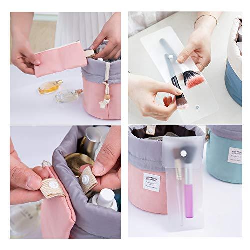 GCOA 2 Pezzi Cosmetici Borsa da Viaggio Multifunzionale Toilette Con Coulisse Pouch Storage Borsa Trucco Cosmetici Organizzatore rosablu chiaro