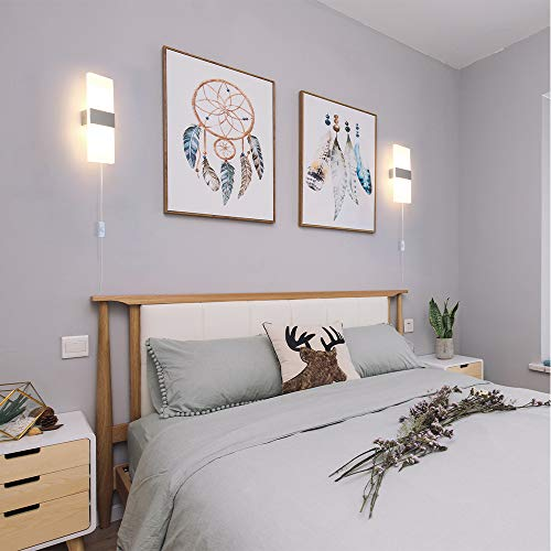 Glighone 2x 12W Lampada da Parete LED Dimmerabile Applique da Parete Interni morderna in Acrilico per Soggiorno Camera da letto Corridoio Scale con Interruttore e Spina Bianco Caldo