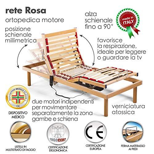 Goldflex Rete Modello Rosa a DOGHE Elettrica Ortopedica Singola 80x190 con 2 Motori indipendenti con REGOLATORI di rigidit 4 Zone reclinabili  1 Fissa Centrale Altezza Finita 30 cm