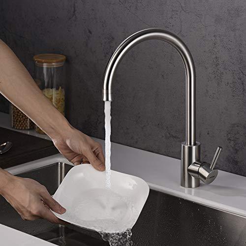 GRIFEMA G40081 Irismart Rubinetto da Cucina Miscelatore Monocomando per Lavello con Spray a Due Funzioni Acciaio Grigio Con Doccia